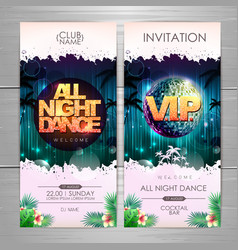 Summer party poster design all night dance vector