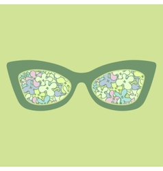 Sunglasses with colorful flowers reflection vector