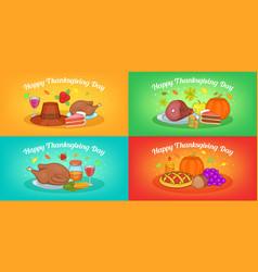 Thanksgiving banner set horizontal cartoon style vector