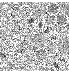 Various floral circular shapes in seamless pattern vector