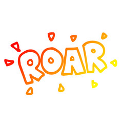 Warm gradient line drawing cartoon roar sign vector