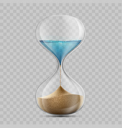 water in hourglass becomes a sand sandglass vector image