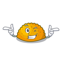 Wink delicious fried patties on plate cartoon vector