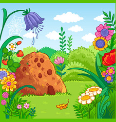 With an anthill and plants vector