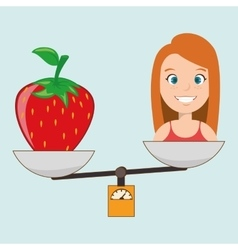 woman cartoon fruit strawberry food balance vector image