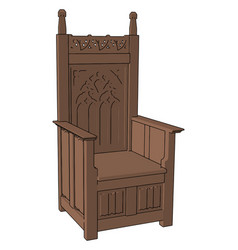 wooden big chair on white background vector image