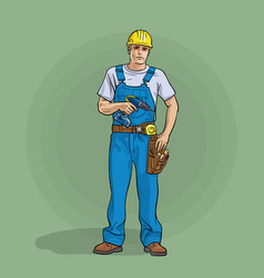Worker in overalls and helmet with a screwdriver vector