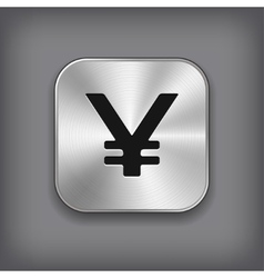 Yen icon - metal app button vector