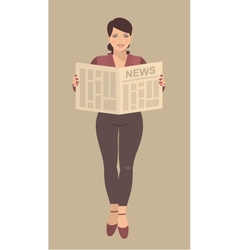 Young business woman reading a newspaper in their vector image