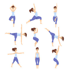 Young woman in different asanas poses set girl vector