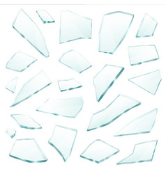 broken glass fragments shards realistic set vector image