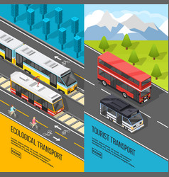 Eco transport banners set vector