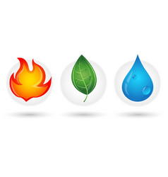 fire drop and green leaf vector image