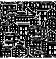 Houses New Pattern Monochrome vector image vector image