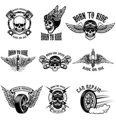 set of biker emblems on white background racers vector image vector image