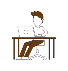 color silhouette image faceless man sitting in vector image vector image