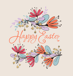 happy easter floral card vector image vector image