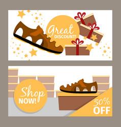 Men summer brown shoe store flyer vector