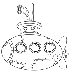 outlined submarine vector image vector image