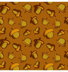 Seamless acorn pattern vector image vector image