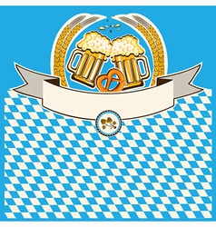 two glasses of beer on Bavaria flag background vector image vector image
