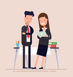 business people man and woman enjoy tablet near vector image vector image
