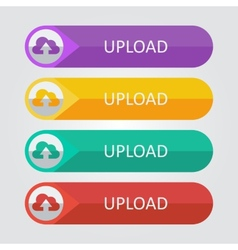 flat buttons cloud upload vector image vector image