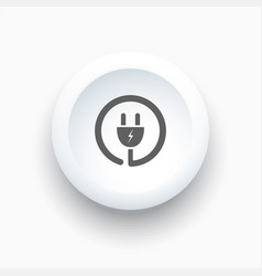 plug icon on a white simple button vector image vector image