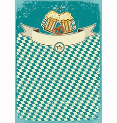 Beer background with two glasses on old paper for vector image vector image