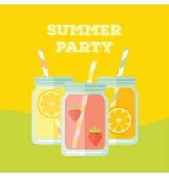 Flat party invitation with mason jar vector image vector image