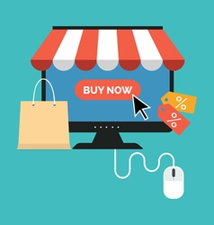 Online shopping concept Flat design stylish vector image vector image