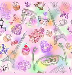 paris city landmark seamless pattern travel vector image