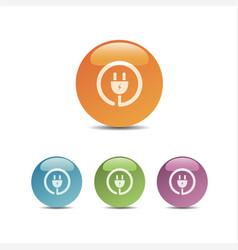 plug icon on colored bubbles vector image vector image