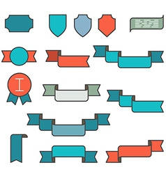 Set of ribbons in flat line style vector image vector image