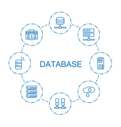 8 database icons vector image