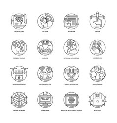 Artificial intelligence line icons 3 vector