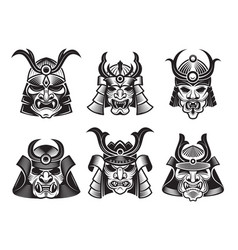 asian martial mask japanese samurai face armour vector image