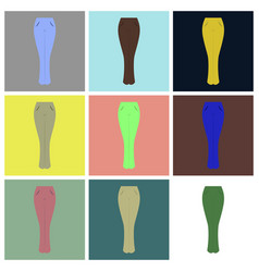 Assembly flat icons women jeans vector