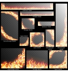 Banners with Realistic fire flames EPS 10 vector