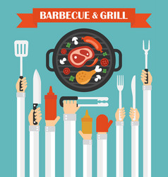 Barbecue and grill concept design flat with hands vector
