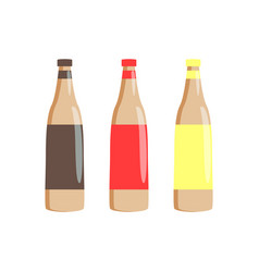 bottles of traditional sauces for hot-dogs set vector image
