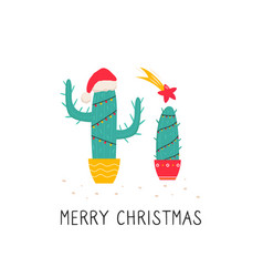 bright christmas with holiday cactus vector image