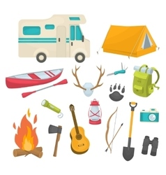 Camping Decorative Icons Set vector image vector image