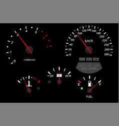 Car dashboard black scales fuel gauge vector