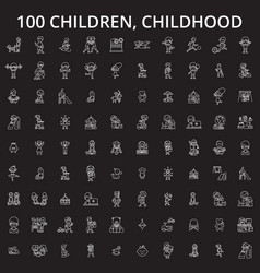 children childhood editable line icons set vector image