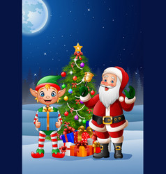 Christmas background with santa claus and elf vector