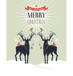 Christmas vintage greeting card retro concept with vector image