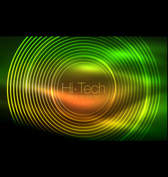 circular glowing neon shapes techno background vector image