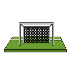 Color image cartoon soccer goal in grass vector