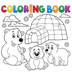 coloring book with polar theme 1 vector image